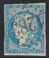 n°44B Bordeaux 20c Bleu clair report II 1870 2nd choix - Signé Calves