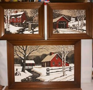 3 VINTAGE KAY DEE HAND PRINTS PURE LINEN COUNTRY WINTER SCENES SEE DISCRIPTION
