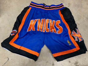 New York Knicks Mens Blue Retro Stitched Basketball Jus Don Summer League Shorts