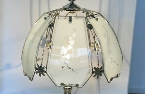 Large Vintage Tiffany Touch Lamp Floral Rose Design Brass Effect Table Lamp Mint