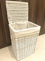 Large White Laundry Wicker Storage Basket Rattan Storage Xmas Gift Hamper Lid