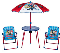 Kids Paw Patrol Blue Garden Picnic Chair Table & Parasol Sun Shade Umbrella Set