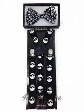 Men WomenNovelty Halloween Party Skull Head Suspender & BowTie