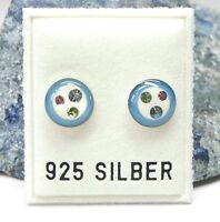 Neu OHRSTECKER 925 Silber SWAROVSKI STEINE peridot/light rose/grün/rosa OHRRINGE