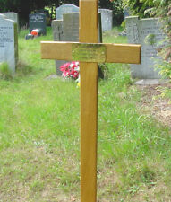 """Memorial Wooden Cross Grave Marker 36"""" & Free Plaque & Free Engraving"""