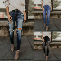 Women Hight Waisted Skinny Hole Denim Jeans Stretch Slim Pants Calf Length Jeans