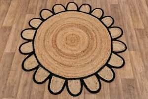 round scalloped jute rug beige & black color rag rug farmhouse round jute rugs