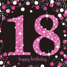 16 X ROSA Celebración 18 años Servilletas y negro 18th Cumpleaños