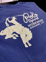 Polo Sport Ralph Lauren Small Blue Western Cowboy Shirt VTG RRL Rodeo Work Wear