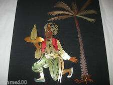 Signed Original Hand Made Inlay Straw Inlaid Art Picture Under Palm Tree Vintage