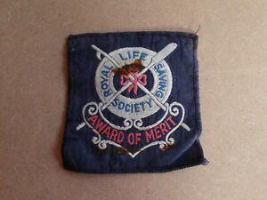 ROYAL LIFE SAVING SOCIETY WOVEN CLOTH BADGE PATCH AWARD OF MERIT VINTAGE RLSS