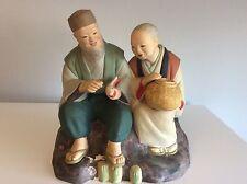 Vintage Asian Japanese Hakata Urasaki Doll Ceramic Figurine Seated Man & Woman