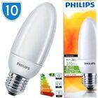 10x Philips Bombillas Vela 8w = 35w E27 CFL Lámparas Blanco Cálido ES