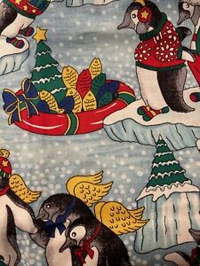 """Kesslers Concord 100% Cotton Fabric Remnant Christmas Penguins Icebergs 52 x 46"""""""