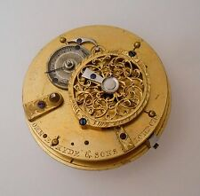 John E. Hyde & Sons. Verge Fusee Pocket Watch Movement