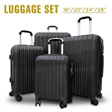 4Pcs Travel Luggage Set Bag ABS Trolley Spinner Suitcase w/Lock 16-28 inch Black