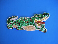 """Vintage Alligator Green & Red Sequin & Bead Applique Mouth Open 6"""" X 2 3/4"""" New"""