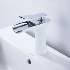 Modern Bathroom Waterfall Basin Mixer Taps Single Handle White Bath Sink Tap UK