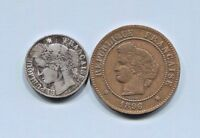 FRANCE - 2 BEAUTIFUL HISTORICAL COINS, 1873 A SILVER 50 CENTS & 1896 A 50 CENTS