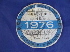 BOLLO 1976 ACI TASSA CIRCOLAZIONE VELOCIPEDI A MOTORE VESPA SCOOTER MOTO EPOCA