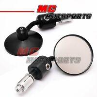 TOP Quality CNC Black Cafe Racer Clubman handlebar bar end mirrors Round