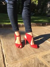 Nine West Sandals Red Suede Size 5W