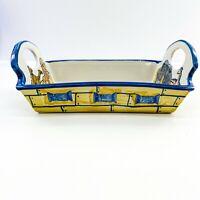 Louisville Stoneware Noahs Ark Dish Tray Kentucky USA Bible Verse Yellow Blue