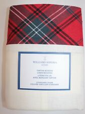 NWT $79 WILLIAMS SONOMA HOME Red TARTAN BORDER Linen Blend STANDARD Sham