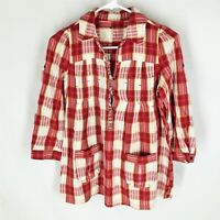FREE PEOPLE Tunic Top Size 0 Red Plaid Peasant Boho Hippie Festival Pockets