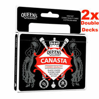 2 x Queen's Slipper Canasta Playing Cards Casino Plastic Coated Double Decks