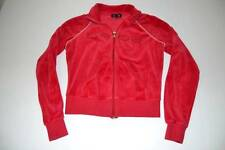 BEBE RED RHINESTONE TERRY CLOTH FULL ZIP SWEATER WOMENS SIZE SMALL S