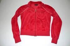 BEBE RED RHINESTONE TERRY CLOTH FULL ZIP SWEATER WOMENS SIZE SMALL S