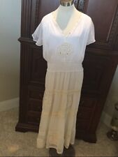 Molato Off white Crochet Tiered BOHO Beach Wedding Long dress Medium