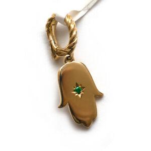 New DAVID YURMAN Emerald and 18K Yellow Gold Hamsa Enhancer Charm Pendant