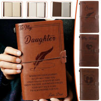 5 Types To My Daughter Son Wife Man Engraved Leather Journal Notebook Diary