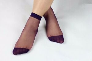 10pairs Women's Ultra Thin Ankle Socks Transparent Short Silk Stockings