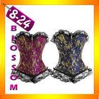 803-7 Flower Brocade Boned Corset Bustier Burlesque Lace Trim 8 - PLUS SIZE 24