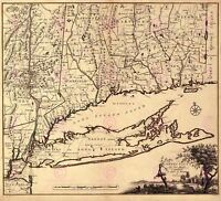 Map Antique Covens 1780 Connecticut Long Island Replica Canvas Art Print