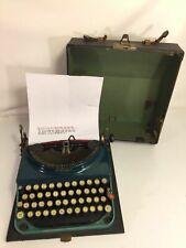 Remington Model 3 Portable Typewriter Antique Manual Two Tone Green Made In USA