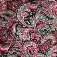 9110-4 AUS Stock per METER Fuschia Pink Paisley Print Cotton Poplin Fabric