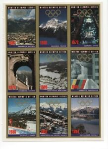 Winter Olympic Cities Cards Set of 9 uncut in Near Mint Condition (1964-1994)