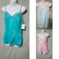 VENTURA Pink Green Blue  Camisole Top Vintage Style Nylon Size  1X 2X  3X