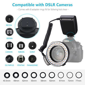 Macro LED Ring Flash Light With 9 Pcs Adapter Rings & Diffuser For DSLR Camera