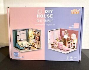 1:24 DIY Minature Dollhouse Kit Corner Of Livingroom With Lights And Music Box