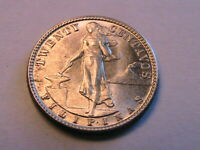 1945-D Philippines 20 Centavos Ch BU Lustrous Original 20 Cent Asian Silver Coin