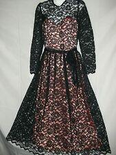 Ladies Size 9/10 Gunne Sax By Jessica McClintock Vintage Black Lace Satin Dress