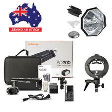 AU Godox AD200 2.4 TTL Two Heads Pocket Flash+AD-S7 Softbox+S-type Bracket Kit