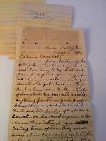 Handwritten Letter 1874 Hart Andrews Family Genealogy Bonton Co Missouri