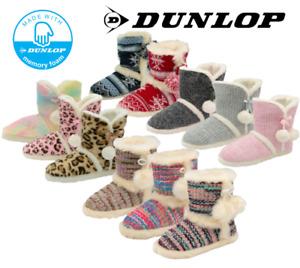 Dunlop Women's Pom Pom Fairisle Knit Faux Fur Ladies Winter Cosy Bootie Slippers