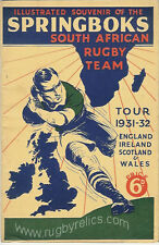 SPRINGBOKS RUGBY PRE-TOUR BOOKLET 1931-32 ENG,IRE,SCOT,WALES S.A to BRITAIN